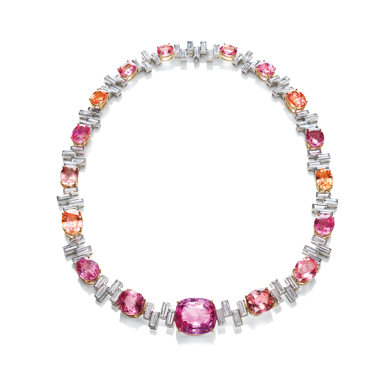 Sunset by Harry Winston, Padparadscha and Diamond Necklace